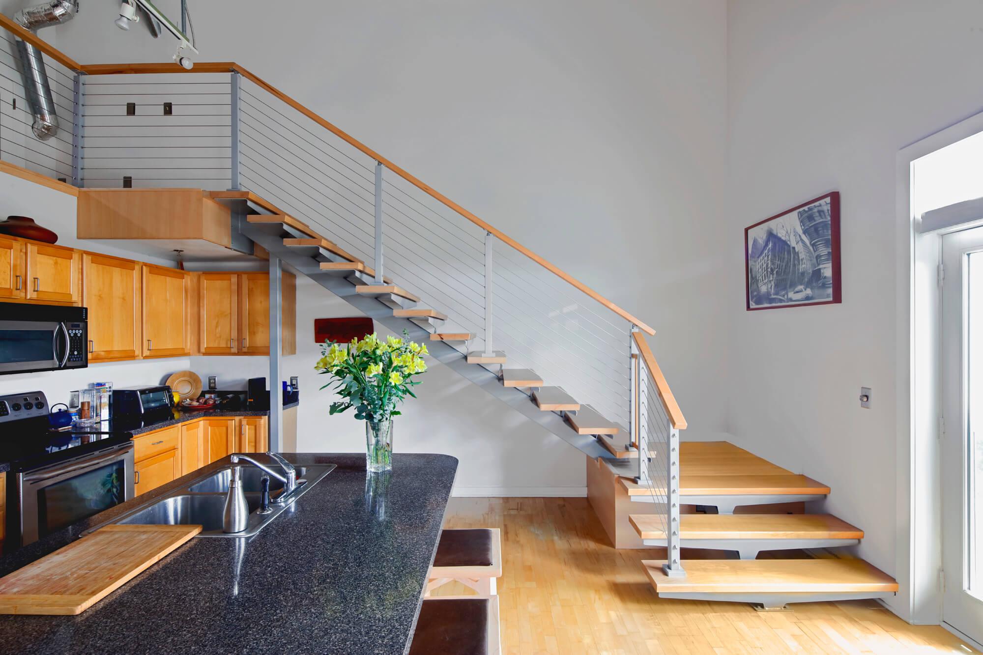 Zurbuch Construction - Neville Loft Kitchen Staircase